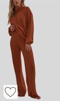 Chándal Mujer Amazon Moda Mujer en Colores del Arcoíris. Shujin Conjunto de ropa de punto para mujer de manga larga con capucha y pantalones anchos, cómodos, 2 piezas
