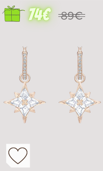 Mejores regalos Navidad Amazon Mujer en Colores del Arcoíris. Swarovski Pendientes de aro Symbolic Star, blanco, Baño en tono Oro Rosa