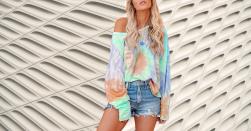 Camisetas Mujer Tie Dye Amazon Camisetas Tie Dye en Colores del Arcoíris