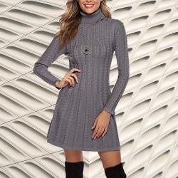 Mejores vestidos de punto mujer amazon moda mujer vestidos de punto amazon. Hawiton Vestido de Punto para Mujer Elegante Vestido de Suéter de Cuello Alto Jersey de Manga Larga de Una Línea para Otoño Invierno