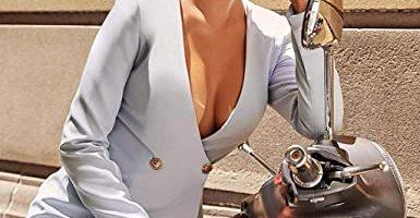 Vestidos Mujer Escote en V Mujer Amazon Moda Mujer Vestidos escote en V. CLOOM Falda De Negocio Sexy&Elegante Vestidos De Blazer Manga Larga Color SóLido Escote V Profundo Dress Vestidos Cruzados Mujer para OtoñO E Invierno Trabajo Oficina