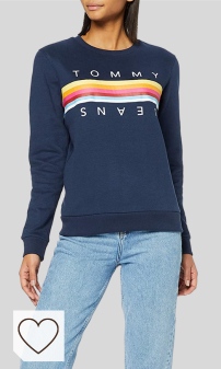 Sudaderas mujer tommy amazon moda mujer sudaderas mujer tommy colores del arcoíris. Tommy Hilfiger Tjw Rainbow Tommy Tape Crew Sudadera para Mujer