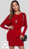 Vestidos de Punto color rojo Mujer Moda Amazon Moda Mujer en colores del Arcoíris. Aibrou Vestido de una Pieza de Punto elástico, Vestido Jersey de Manga Larga con Cuello Redondo y Manga Larga para Mujer