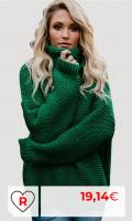 Jersey verde de Punto Mujer Amazon Jersey Punto Cuello Vuelto Mujer Oversize Grueso Sueter Señora Gordos Ancho Sweaters Sweater Tejido Jerséis