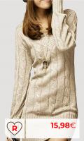 Rebajas Amazon Vestidos Mujer en Colores del Arcoíris. Vestido De Punto Mujer Elegantes Vintage Otoño Invierno Jersey Largo Manga Larga Mode De Marca V Cuello Casuales Grueso Slim Fit Termica Color Sólido Suéter De Punto Sweater Jerseys