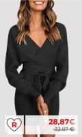 Rebajas Amazon Vestidos Mujer Amazon Moda Mujer. Socluer Vestido de Punto de Manga Larga de Invierno para Mujer con Cuello en V y Jersey cálido con Mini cinturón