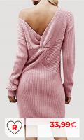 Rebajas Amazon ofertas vestidos mujer. Auxo Vestido a Punto Cuello Alto Suéter Larga Elegante Clásico para Mujer Jerséy para Otoño Invierno Fiesta Cóctel Noche Fiesta Cóctel Noche