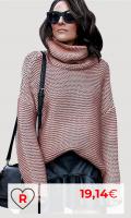 Jersey rosa de Punto Mujer Amazon Jersey Punto Cuello Vuelto Mujer Oversize Grueso Sueter Señora Gordos Ancho Sweaters Sweater Tejido Jerséis