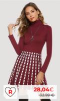 Vestidos de punto Amazon Vestidos de Punto Moda Mujer. Hawiton Vestido de Punto para Mujer Vestido de Suéter de Cuello Alto Elegante Jersey de Manga Larga de Una Línea para Otoño Invierno