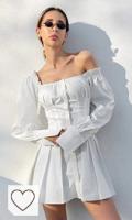Vestido Blanco Mujer Amazon Moda vestido blanco. Vestido Informal De Manga Larga para Mujer, Minivestido Blanco con Cuello Cuadrado para Mujer, Vestidos Elegantes Cortos Sexis con Volantes De Otoño