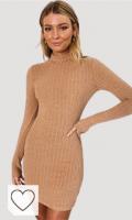 Vestido de Punto color caqui Amazon vestidos de punto. Vestido De Cuello Alto De Manga Larga Ajustado Mini Vestido Mujer Primavera Vestidos Sin Espalda Sexy