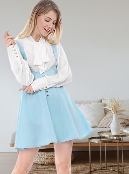 Vestido Azul Pastel. Allegra K Vestido Decoración De Botones por Encima De La Rodilla Dobladillo Acampanado Falda De Tirantes para Mujer