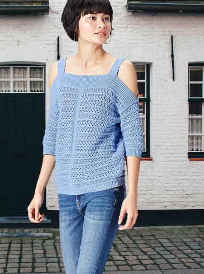 Jersey Azul Pastel. Marca Amazon - find. Top de Punto Fino con Hombros al Aire para Mujer