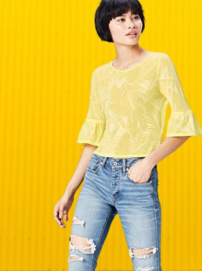Blusa Amarilla Mujer. Marca Amazon - find. Camiseta Corta con Cuello Redondo Mujer