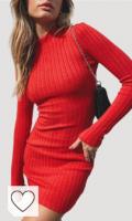 Vestido de Punto Rojo Amazon vestido de punto rojo. Vestido De Cuello Alto De Manga Larga Ajustado Mini Vestido Mujer Primavera Vestidos Sin Espalda Sexy