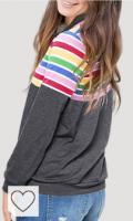 Sudadera Mujer rayas arcoíris Amazon Sudaderas Arcoiris Rainbow. CORAFRITZ - Sudadera con capucha de manga larga para mujer, color arcoíris con bolsillos