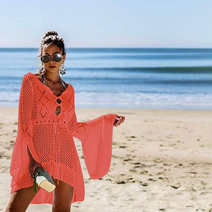 Tacobear Mujer Pareos Playa Traje de Baño Verano Vestido de Playa Sexy Bikini Cover up Camisola de Playa Túnica de Punto color naranja