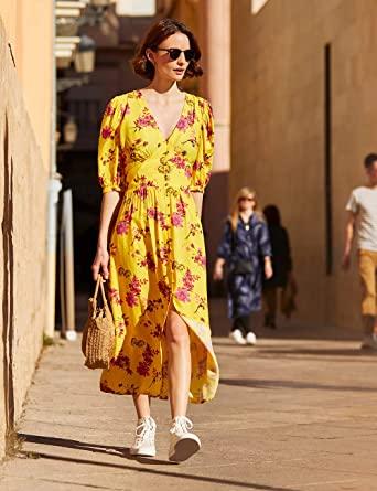Marca Amazon - find. Vestido Amarillo Midi Boho Mujer