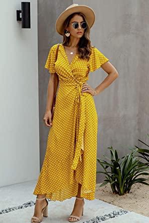 Vestido Amarillo mujer. Vestido Mujer Bohemio Largo Verano Playa Fiesta Floral/Polka Dot Maxi Vestidos Cóctel Falda Larga con Cinturón