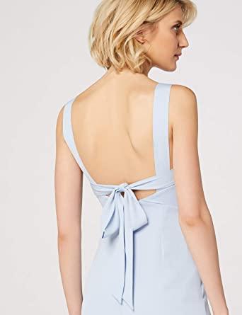 Vestido color azul pastel. Marca Amazon - TRUTH & FABLE Vestido Largo Evasé de Satén Mujer