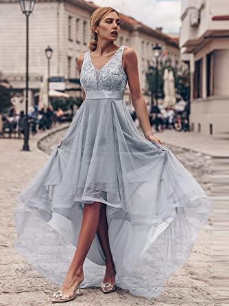 Vestido Fiesta gris Ever-Pretty Asimétrico Vestido de Fiesta Largo Mujer Tul Lentejuelas Alto Bajo Escote V A-línea Imperio 00793