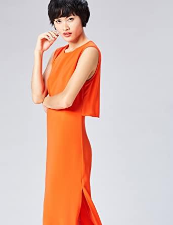 Marca Amazon - find. Vestido Elegante color naranja Sin Mangas Largo por la Rodilla para Mujer