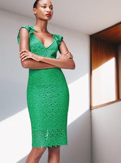 Marca Amazon - find. Vestido Midi Ajustado Verde de Encaje Mujer