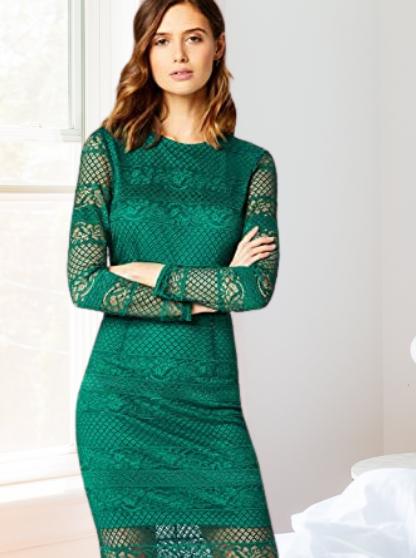 Marca Amazon - TRUTH & FABLE Vestido verde Midi Ajustado de Encaje Mujer
