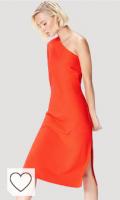 Marca Amazon - find. Vestido Midi color naranja con un Hombro al Aire Mujer