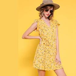 Vestido Amarillo. Allegra K Vestido Floral con Cinturón para Mujer Cuello En V Mangas De Pétalos