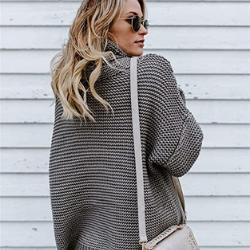Jersey gris de Punto Mujer Amazon Jersey Punto Cuello Vuelto Mujer Oversize Grueso Sueter Señora Gordos Ancho Sweaters Sweater Tejido Jerséis