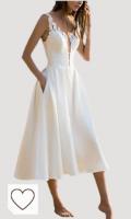 Vestidos De Fiesta para Bodas Mujer Elegantes Sin Mangas Ropa Dama Moderno V Cuello Una Línea Fashion Bonita Vestido Fiesta Vestidos Coctel Blanco S-XL