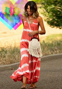 Tendencias Moda Mujer vestidos tie Dye. Vestido tie dye rojo a rayas