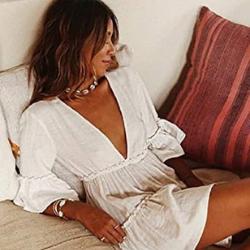 Vestido Playa Blanco. Bsubseach Traje De Baño Informal para Mujer Vestido Corto De Playa