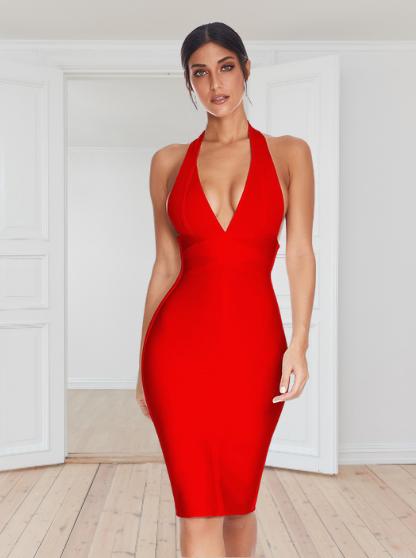meilun Vestido rojo a Media Pierna de Cóctel con Cuello en V y Escote Halter Profundo para Mujer