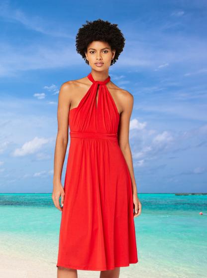 Marca Amazon - TRUTH & FABLE Vestido Rojo Mujer Multiposición