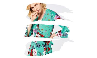 Tendencia flores moda primavera verano 2021. Marca Amazon - find. Vestido Cruzado de Flores Mujer