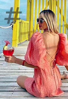 Tendencias moda mujer en vestidos cortos. TSP Vestido floral rosa para mujer, manga abullonada ajustable, espalda ajustable, vestido de fiesta sexy, vestido de primavera y verano 2021, vestido de mujer (tamaño: L)