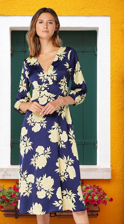 Marca Amazon - TRUTH & FABLE Vestido Midi Evasé de Flores Mujer