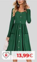 Vestidos primavera baratos. Vestido verde por menos de 20 euros. Manga Larga De Una Sola Pieza Vestido Alto-bajo De La Rodilla-Largo De Las Mujeres con Cuello Redondo De La Playa del Vestido Ocasional Vestido Cruzado De La Playa