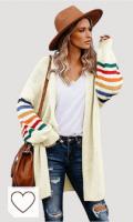 Cárdigan Tejido para Mujer Suéter de Color Block Casual de Manga Larga Chaqueta De Punto Jersey De Suelta Punto Frente Abierto Jersey Suelta de Patchwork