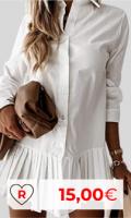 Vestidos camiseros baratos. Vestido camisero por menos de 20 euros. Vestido De Camisa De Color Sólido para Mujer, Vestido Plisado De Manga Larga con Solapa, Minivestido De Un Solo Pecho para Mujer, Ropa De Una Pieza De Primavera para Mujer