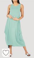 Vestido verde menta para mujer. Vestido Ancho con Cuello Redondo