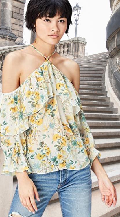 Blusa hombro descubierto con estampado de flores. Marca Amazon - find. Blusa Estampada con Hombros al aire para Mujer