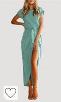 Vestido verde menta para mujer. Tendencias colores de moda primavera verano 2021. YOINS Vestido de verano largo para mujer, vestido de playa, sexy, manga corta, de punto, cuello redondo con cinturón