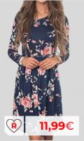 Vestido primavera barato por menos de 20 euros. Mujer De Manga Larga De Una Sola Pieza De Alta Bajo del Vestido De La Rodilla-Camisa Larga Una Línea De Cuello Redondo Vestido Casual para Viajes