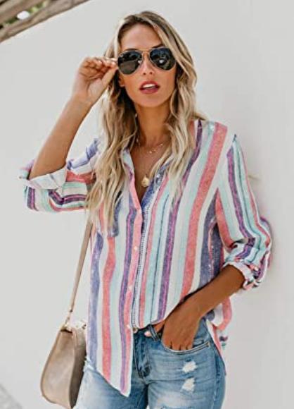 Camisa mujer casual a rayas. Dokotoo Blusa de manga larga para mujer con cuello en V, estilo casual, elegante, ajustada, con botones a rayas, tallas S-2XL