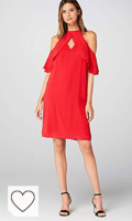 Vestido corto fiesta de color rojo. Marca Amazon - TRUTH & FABLE Vestido Midi Evasé de Gasa Mujer