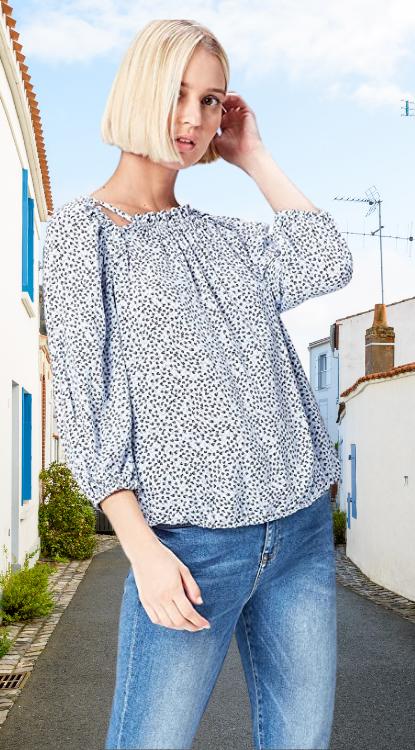 Blusa mujer estampada de flores. Marca Amazon - find. Blusa Estampada con Aberturas para Mujer