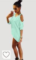 Vestido verde menta. Onsoyour Verano Camisas para Mujer Blusas Tops del Batwing Camisetas Manga Media Off Shoulder Tallas Grandes Casual Color Sólido Túnica Tops